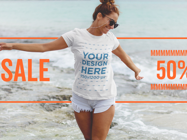 Placeit beautiful girl on the beach facebook ad for T shirt ads on facebook