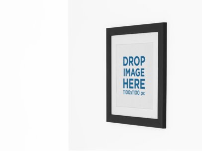 Square Framed Art Print Mockup on a Wall a15281
