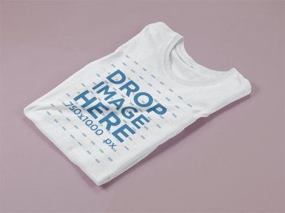 Folded Woman Tee Mockup Lying on a Solid Surface a15256