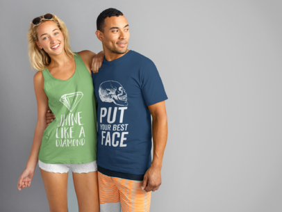 Blonde Girl Wearing a Tank Top Mockup While Hanging Out with a Dude Wearing a Tshirt Mockup a15452