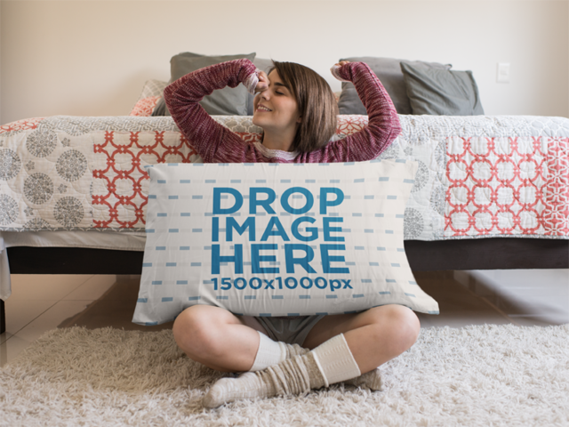 Young Girl Waking up Sitting Down with a Big Pillow Mockup a14949