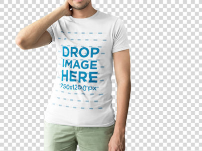 Tall Man with Cropped Face Wearing a T-Shirt Mockup While Standing Against a Transparent Background a15471