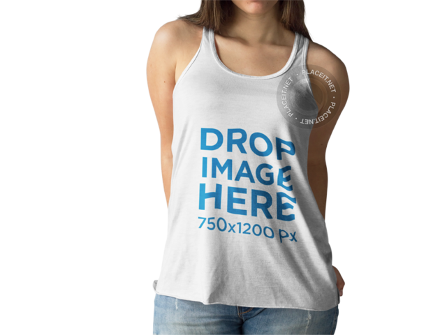 Young White Woman With Cropped Face Wearing a Tank Top Mockup While Standing Against a Transparent Backdrop a15478