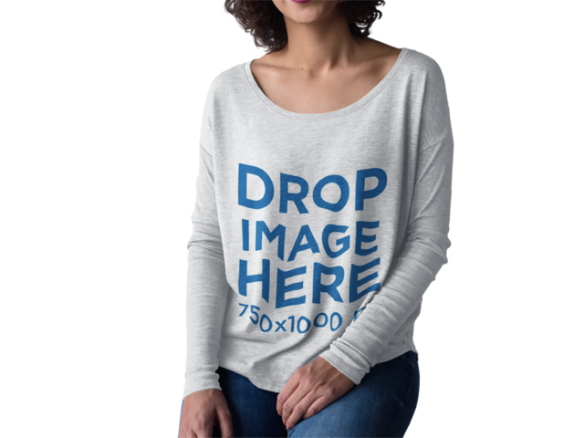 Cropped Face Woman With Curly Short Hair Wearing a Long Sleeve Bella Canvas T-Shirt Mockup Against a Transparent Surface a15504