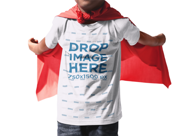 Little Kid with Cropped Face Wearing a Round Neck T-Shirt Mockup and a Red Cloak While Standing Against a Transparent Backdrop a15469