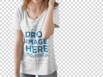 Young Girl with Cropped Face Wearing a Scoop Neck T-Shirt Mockup While Listening to Music a15514