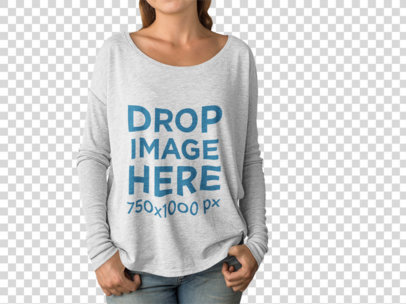 White Woman Wearing a Bella Canvas Long Sleeve Tee Mockup With Her Face Cropped a15511
