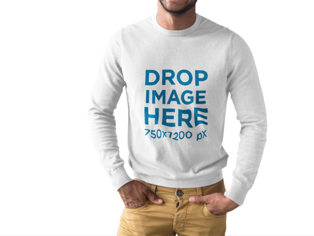 Black Man Wearing a Long Sleeve Tee Mockup While Standing Cropped Faced Against a Transparent Surface a15512