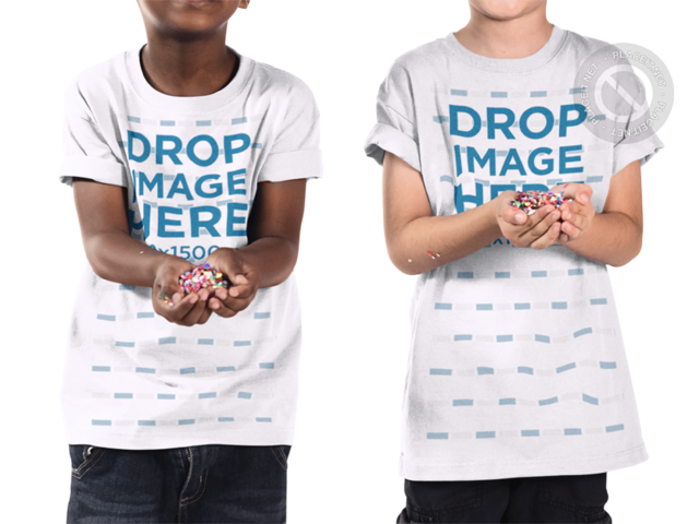 Mockup of Two Cropped Face Young Boys Playing With Candy While Wearing a T-Shirt a15508