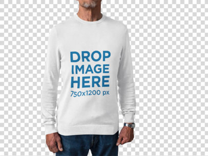 Senior Man With Cropped Face Wearing a Long Sleeve Tshirt Mockup Against a Transparent Backdrop a15517