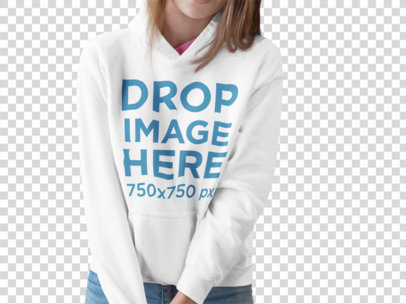 Girl Wearing a Pullover Hoodie Mockup While Cropped Faced Against a Blank Backdrop a15513