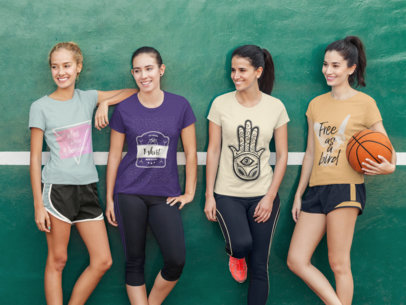 Group of Four Girls Wearing Different Tees Mockup While in a Basketball Court a15631