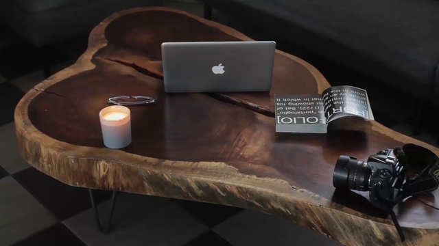 Frontal MacBook Video Lying on a Modern Wooden Desk a15579