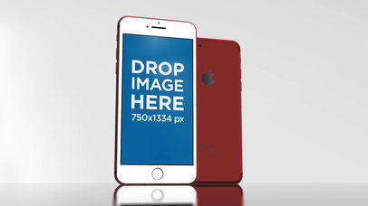 Red iPhone Mockup Video Standing on a White Glass Surface a15674