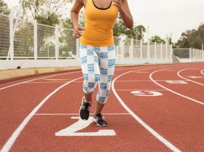 Young Girl Startin to Run While Wearing Leggings Mockup a15320