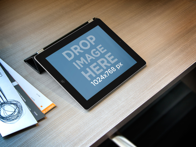 iPad Landscape Black On Wooden Desk