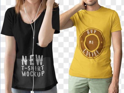 Cropped Faced Couple Wearing Different T-Shirts Mockup While Standing Against a Transparent Background a15793