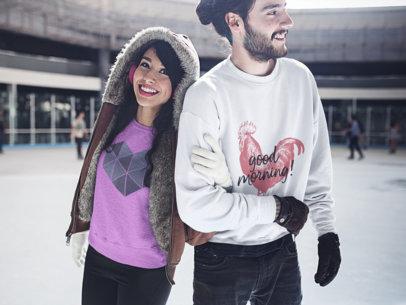 Young Couple Having Fun While at the Ice Skating Park Wearing Crewneck Sweatshirts Mockup a15805