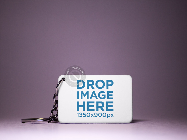 Keychain Mockup Standing on a Dark Purple Surface a15408