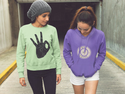 Two Girls Coming Out of a Tunnel Wearing a Crewneck Sweatshirt and a Pullover Hoodie Template a15739