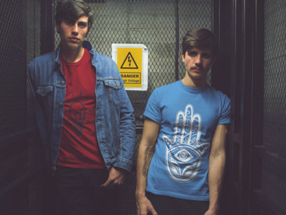 Two Young White Guys Wearing T-Shirts Mockup with Different Designs a15742