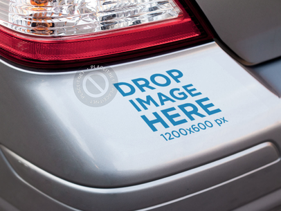 Closeup of the Back Bumper of a Car with a Square Sticker Mockup a15340