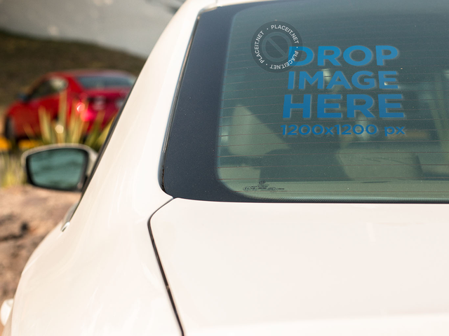 Placeit Square Window Decal Mockup On The Back Window Of A White - Cars decal maker upload picture
