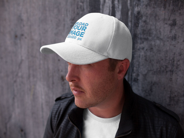 Template of a White Guy Wearing a Snapback Hat While Against a Concrete Wall 9af8befba26