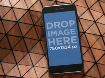 iPhone 6 Mockup Template Over a Geometric Background