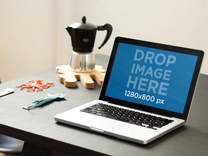 Macbook Mockup Template at a Creative Office Environment a4669