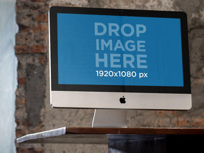 Desktop Mockup Featuring an iMac at an Architecture Office a4849