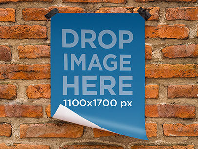 Poster Mockup Featuring a Poster Taped to a Brick Wall a6374