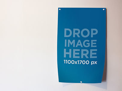 Mockup of a Poster Taped to a White Wall a5892