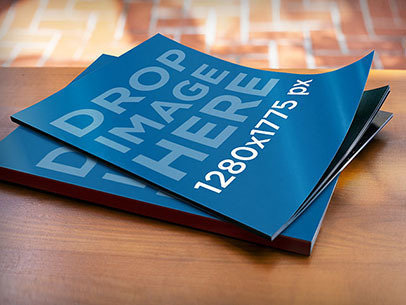 Mockup of 2 Magazines Lying on Top of a Wooden Desk a5905