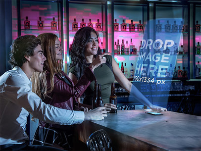 iPhone Mockup Template of Friends Having Fun at the Bar a6173