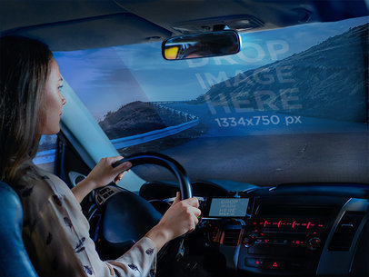 iPhone Mockup of a Lady Driving While Interacting With her Phone a6102