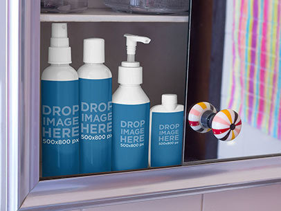 Label Mockup Featuring a Set of Cosmetic Bottles in a Bathroom Cabinet a6862