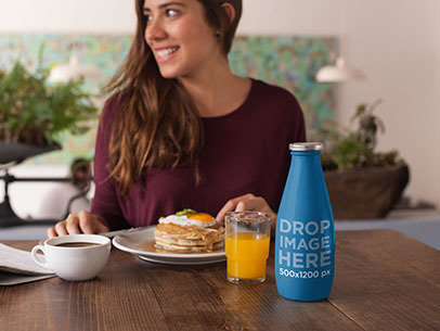 Label Mockup Featuring a Milk Bottle at a Breakfast Table a7014
