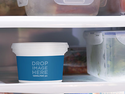 Label Mockup of a Container Inside a Refrigerator a7153