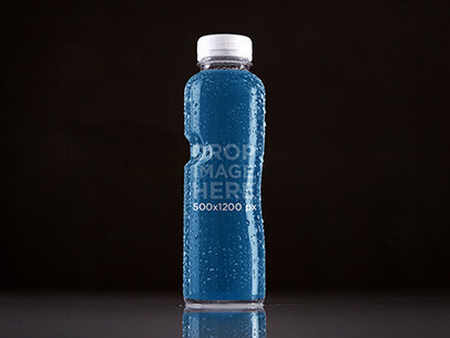 Label Mockup of a Water Bottle With Dark Backdrop a7228