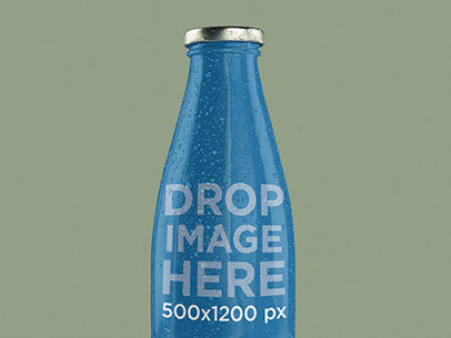 Label Mockup Featuring a Milk Bottle Over a Solid Backdrop a7232