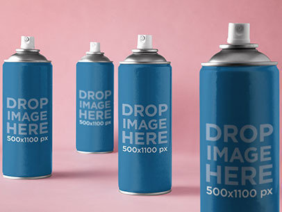 Label Mockup Featuring a Set of Spray Paint Cans a7244