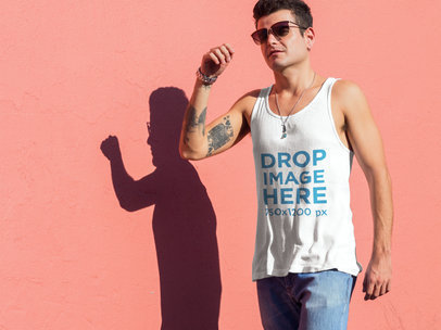 Tank Top Mockup of a Stylish Young Man Walking Around 6587a