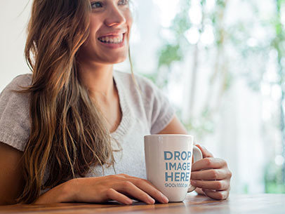 Cup Mockup of a Smiling Young Woman Having a Cup of Coffee a7027