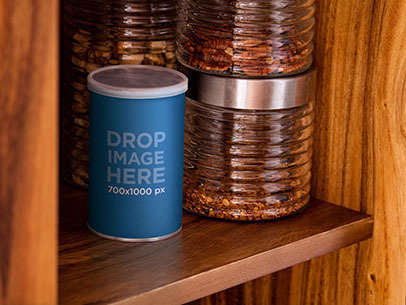 Packaging Mockup Featuring a Coffee Can in a Cupboard a7170