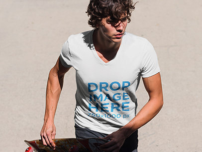 Young Skateboarder Wearing a V-Neck T-Shirt Mockup6083a
