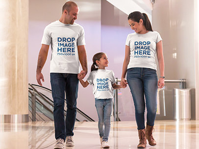 T-Shirt Mockup Featuring a Happy Family at the Mall a8045