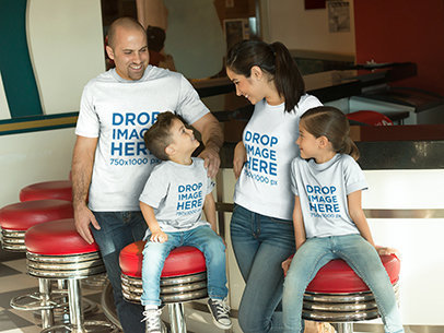 Family at a Burger Restaurant T-Shirt Mockup a8038