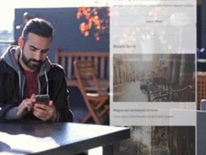 App Demo Video of a Young Man Using His iPhone at a Terrace a8275
