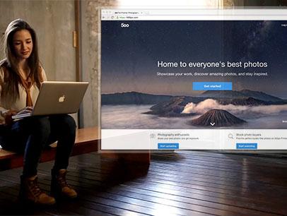 Woman Using a Macbook Pro at an Art Gallery App Demo Video a8467